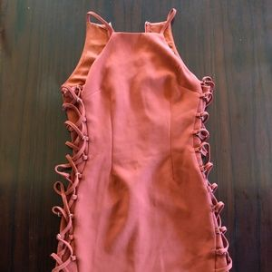 Burnt Orange lace up side detail dress size s